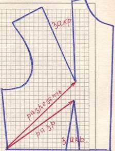 чертеж на линию талии и бокового среза