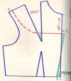 чертеж на линию подреза на груди