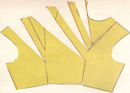 раскрой перемещения общих нагрудных вытачек в драпировку на плечо
