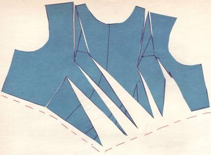 раскрой перемещения общих нагрудных вытачек в драпировку на талии