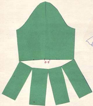 Раскрой узкого рукава до линии локтя, расширенный к низу