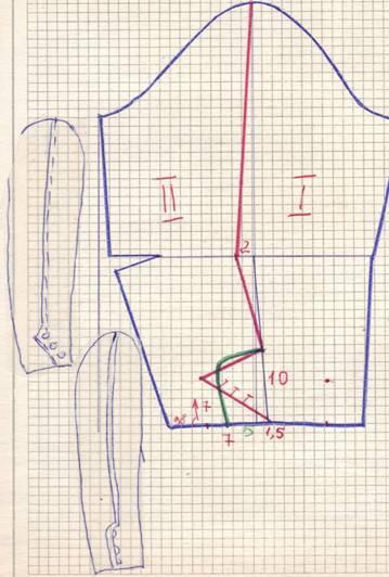 чертеж и фасон рукава с рельефной линией
