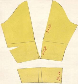 чертеж рукав с драпировкой сверху и прилегающей манжетой