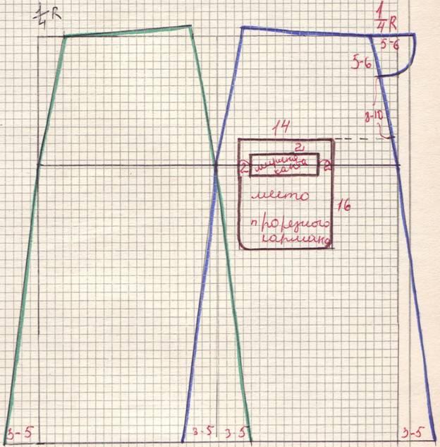 чертеж юбки 4-х шовнаой с прорезным карманом