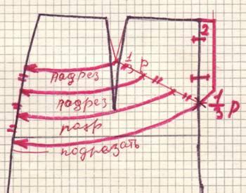 чертеж юбки с фигурным патом и драпировкой