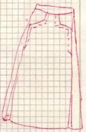 фасон юбки с карманами и складками от кармана