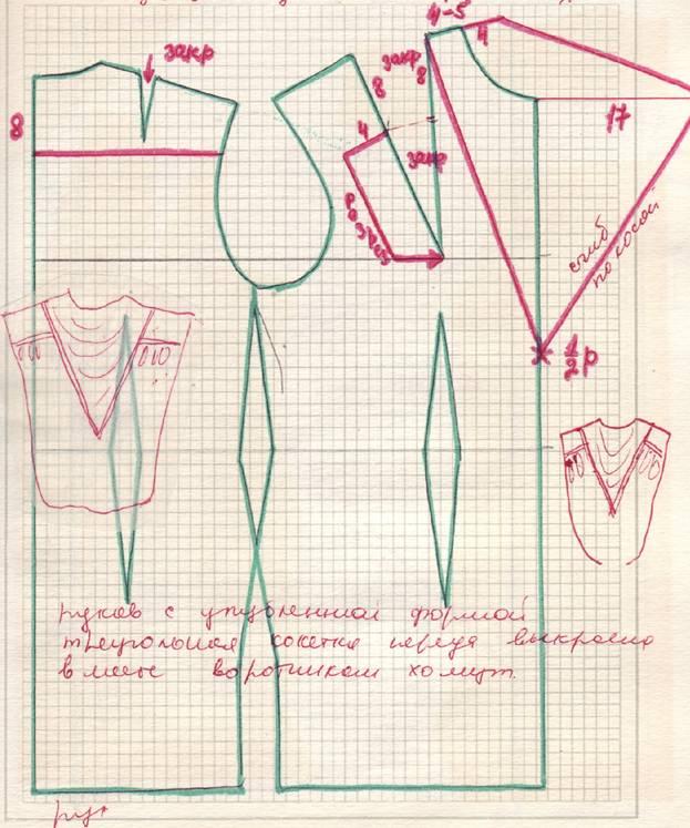 выкройка платья из трикотажа с асимметричными рукавами.