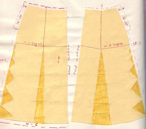 крой расклешенной двухшовной юбки