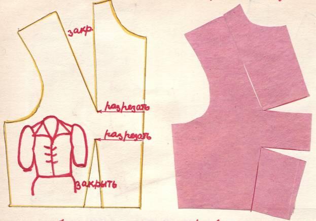 чертеж и крой перевода нагрудной и талевой вытачек на линию середины переда