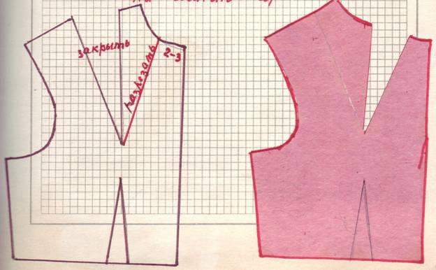 чертеж и крой перевода нагрудной вытачки в мягкие складки от плеча