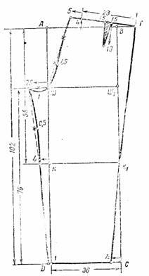 Чертеж выкройки задней половинки брюк