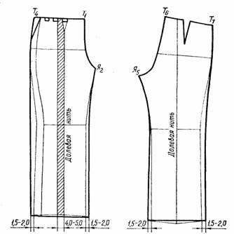 чертеж  широких свободных брюк для женщин