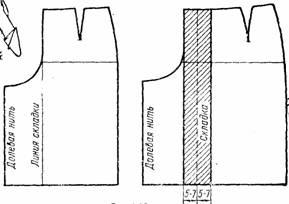 чертеж заднего полотнища юбки-брюк