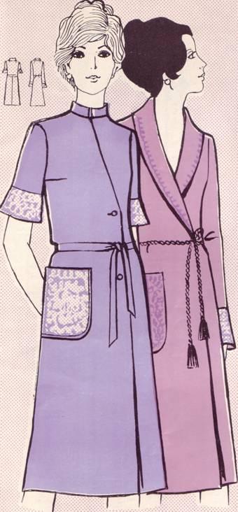 Выкройки халата со стойкой