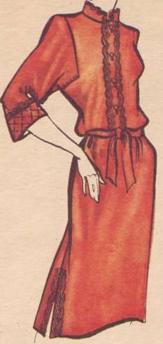 вфасон платья с рукавом с квадратной низкой проймой