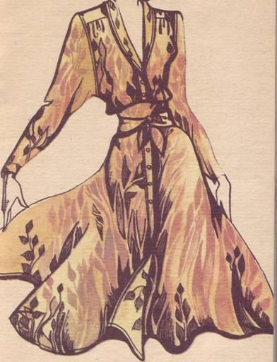 Платье с ркавом с квадратной проймой