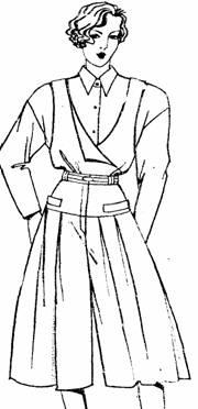 юбка-брюки на кокетке с поясом и мягкими складками, расклешенная сзади