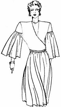 рукав с уменьшенной объем в верхней части и увеличенный от линии отреза до низа