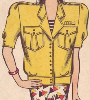 фасон комплект жакет, маленькая блуза и прямая юбка