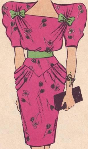 Фасон платья, отрезного по талии. руккав втачной, объемный