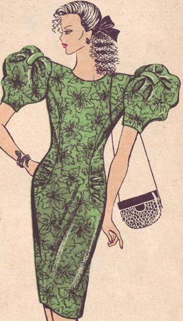 фасон платья полуприлегающего силуэта. рукав фонарик