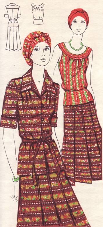 выкройка платья-костюма из хлопчатобумажной ткани