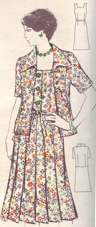 фасон и выкройка платья с жакетом из шелка для молодой полной женщины.