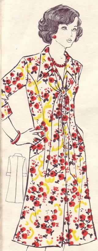 фасон и выкройка шелкового платья для женщины с полной фигурой.