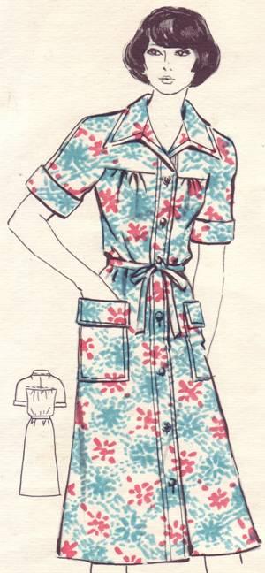 платье-халат из хлопчатобумажной набивной ткани