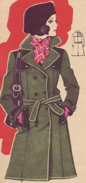Концы пояса мягко...  Плащ-пальто из смесовой ткани.