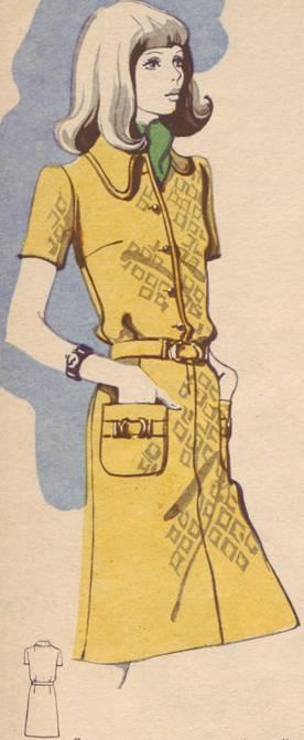 Платье практичного фасона. мягкие вытачки на талии создают...