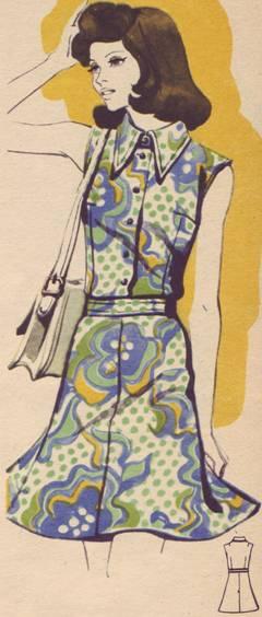 Фасон и выкройка повседневного летнего платья из набивного шелка.