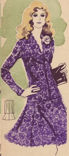 Вечернее платье из кружевного полотна на узком атласном чехле.